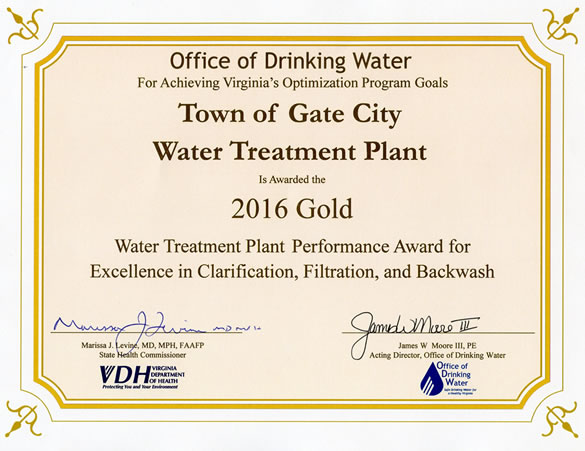 Gold Award 2016 - Water Treatment Plan